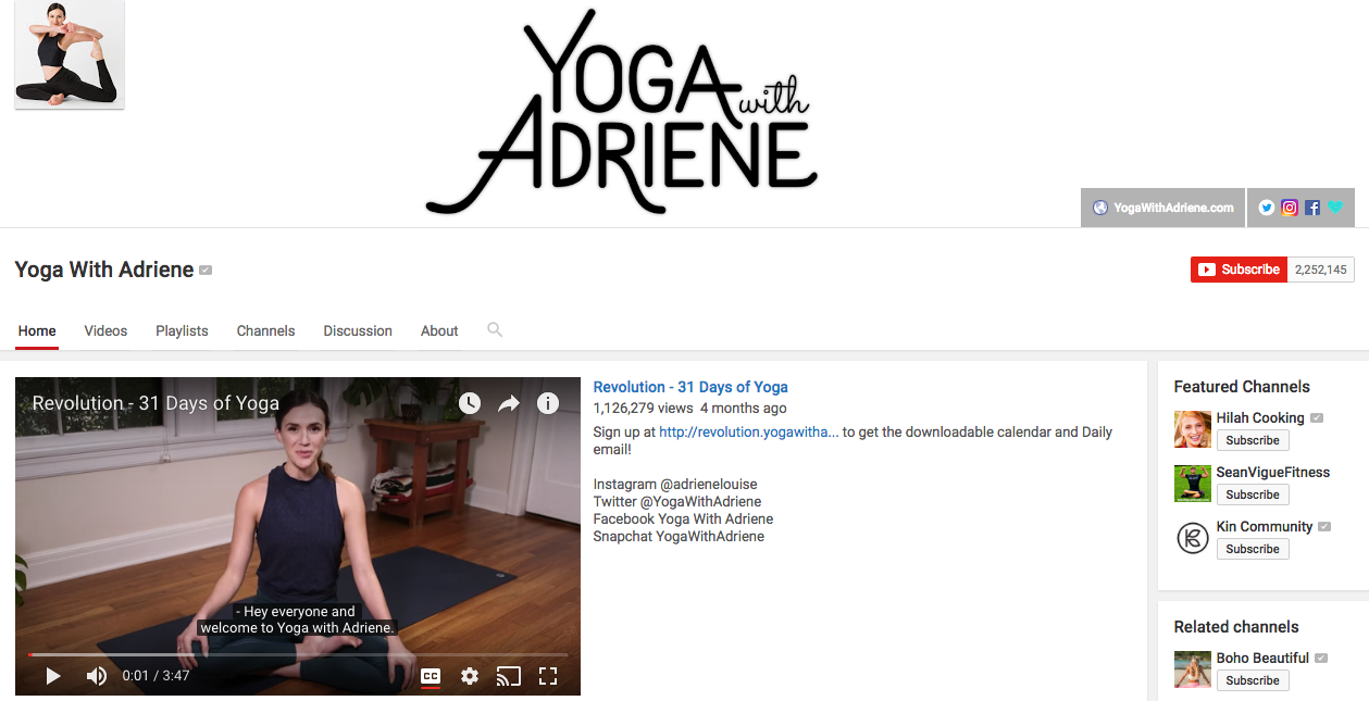 Yoga With Adriene Top YouTube Influencer
