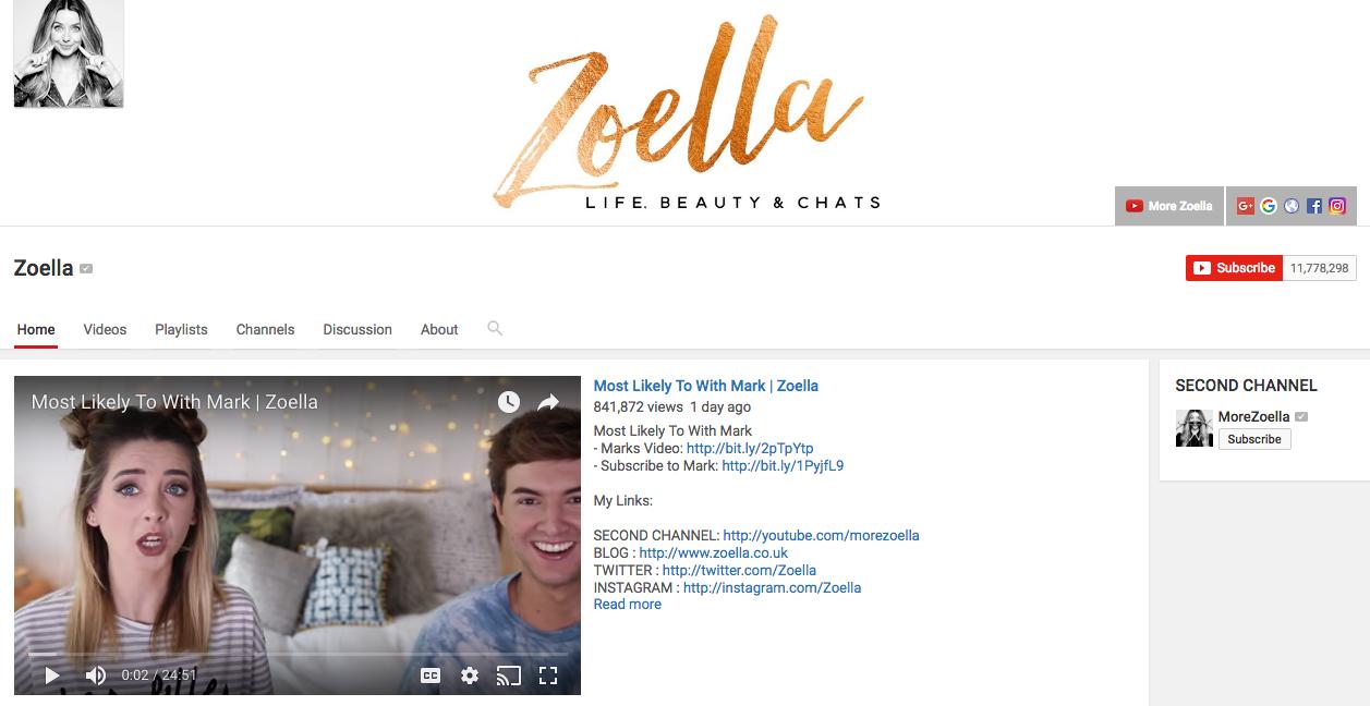 Zoella YouTube Beauty Influencer