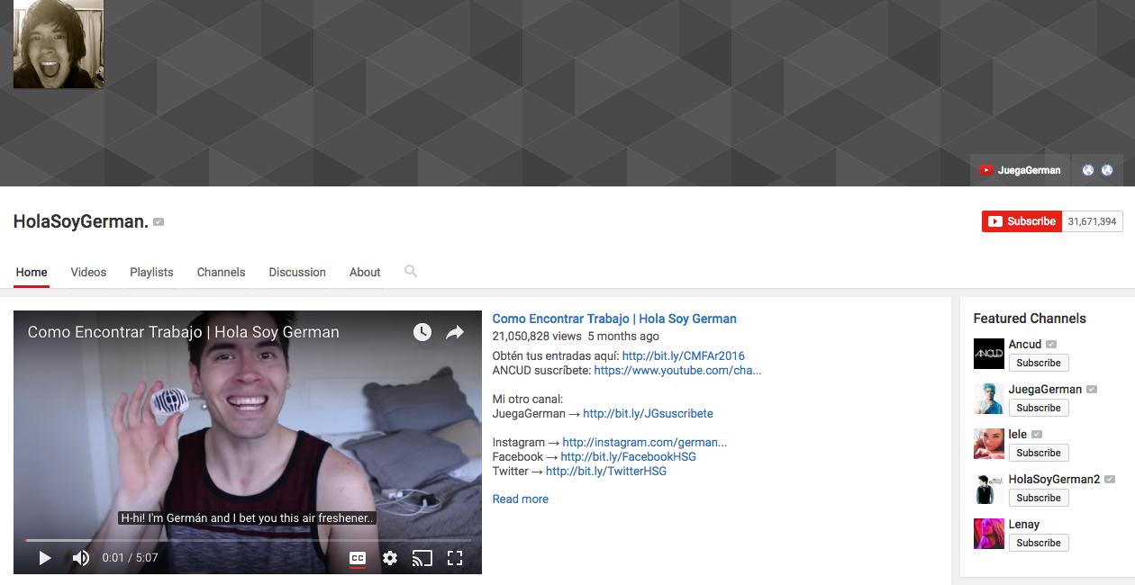 HolaSoyGerman Top YouTube Influencer