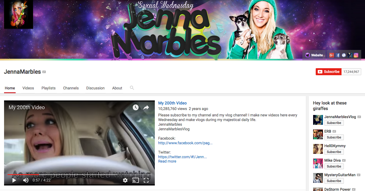 Jenna Marbles Top YouTube Influencers