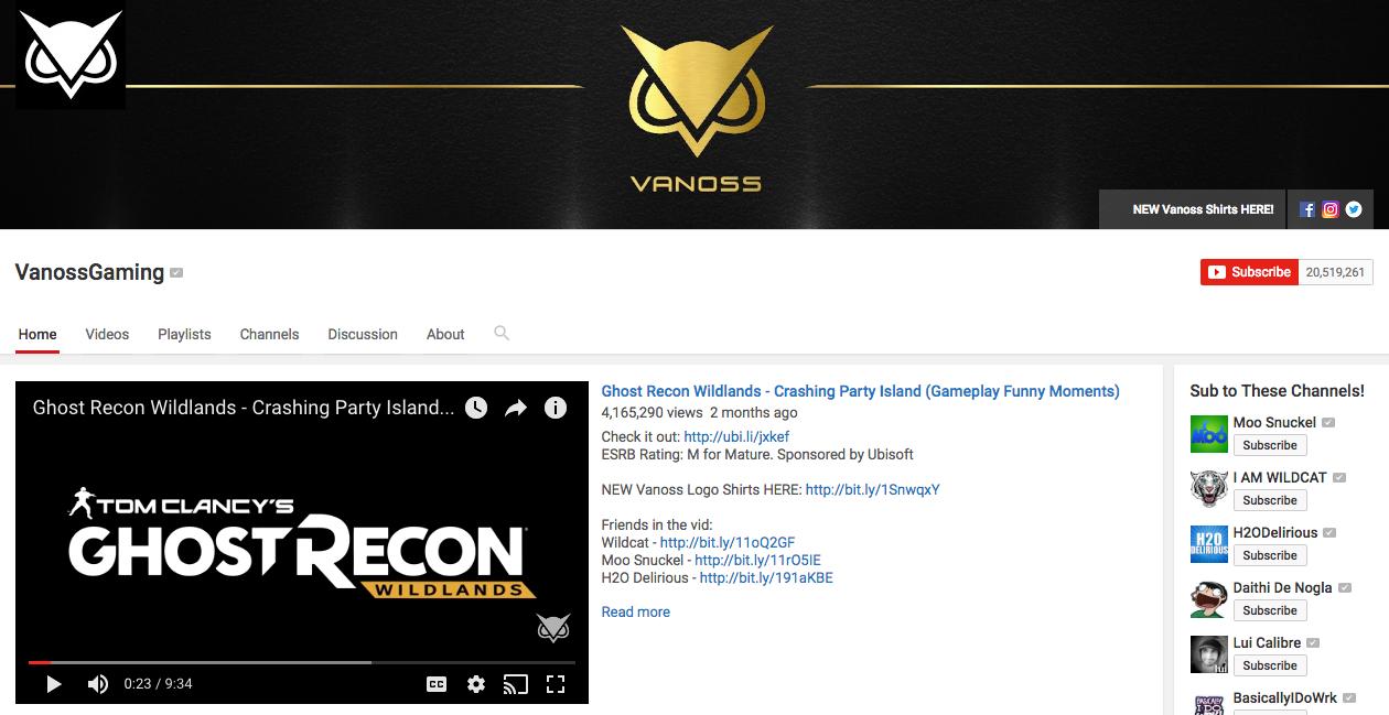 VanossGaming YouTube Influencer