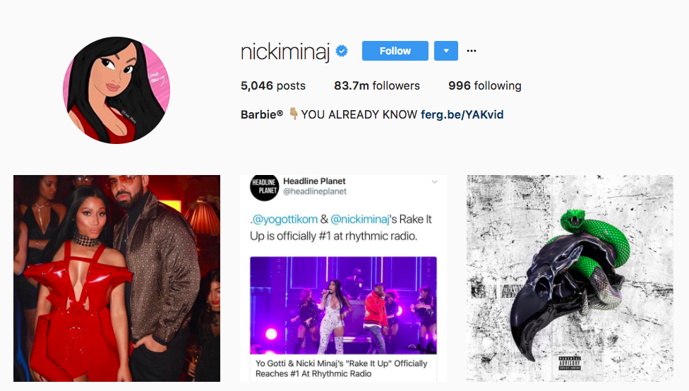 Nicki Minaj Top Instagram Influencers 2017