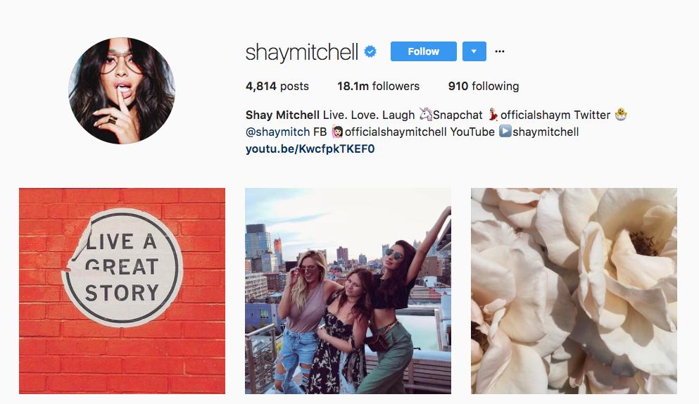 Shay Mitchell Instagram Influencer